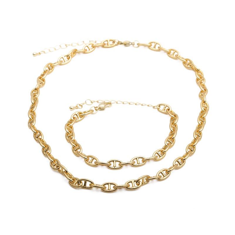 Hip Hop Necklace Bracelet Set NHYL303905