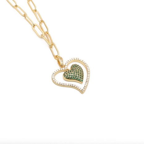 hip-hop micro-inlaid zircon heart necklace NHYL303929's discount tags