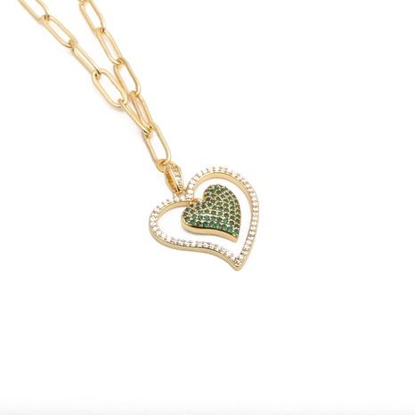 Mikro-eingelegte Zirkon-Herzkette aus Hip-Hop NHYL303929's discount tags