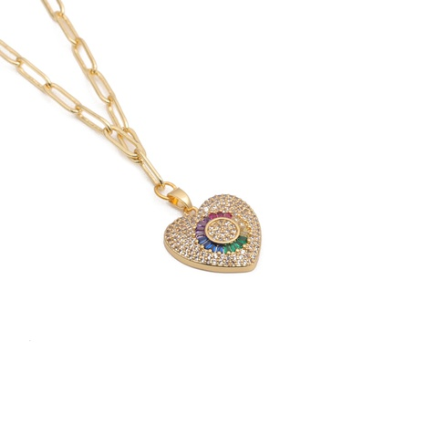 colorful zirconium heart necklace  NHYL303930's discount tags