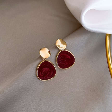 Wine Red Retro Earrings NHXI303947's discount tags