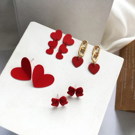 fashion trendy red love bow earrings NHXI303948's discount tags