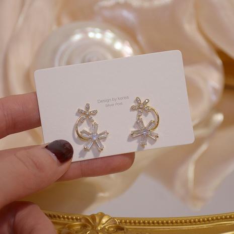 Korea einfache blinkende Diamant Zirkon Blumenohrringe NHXI303951's discount tags