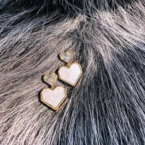 New simple Micro-inlaid Geometric Heart Earrings NHXI303953's discount tags