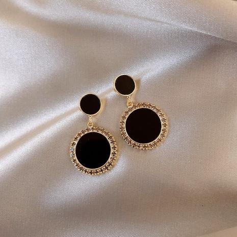 new korean simple black circle earrings NHXI303954's discount tags