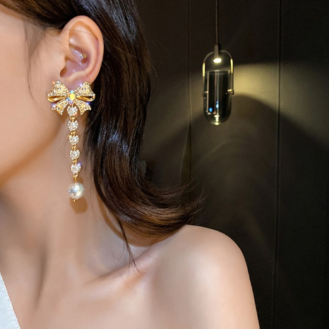 Bowknot pearl long baroque earrings  NHNT303966's discount tags