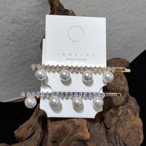Pince à mot Perle de Corée incrustée de zircon brillant NHAR304012's discount tags