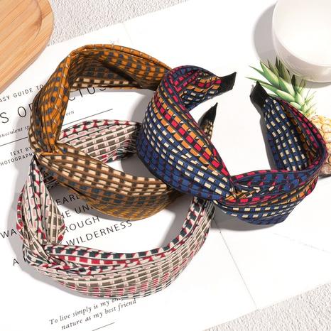 Hahnentritt geknotetes Stirnband mit breiter Krempe NHAQ304029's discount tags