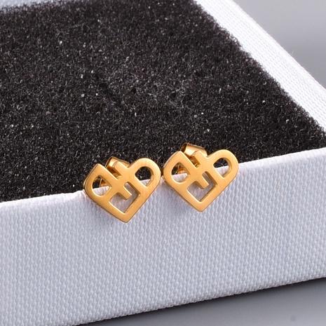 Korean fashion simple blue love heart hollow rose gold earrings NHAB304048's discount tags