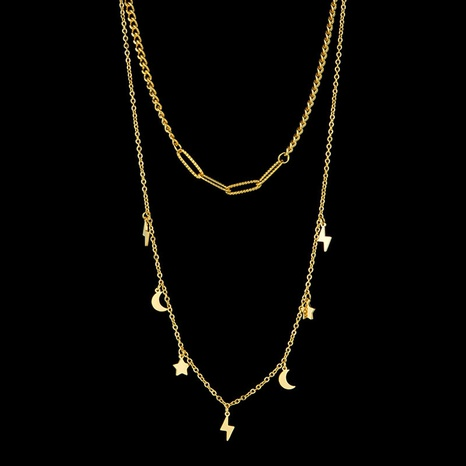 simple double layer moon star stainless steel necklace NHHF303575's discount tags