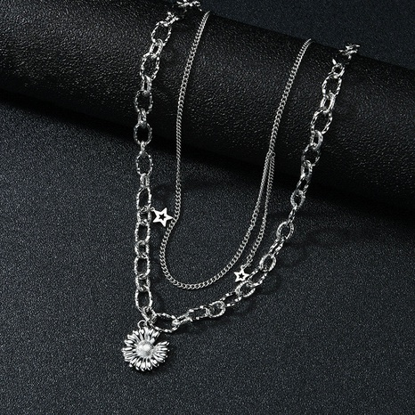 sunflower titanium steel pendant necklace NHHF303574's discount tags