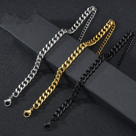 simple grinding fashion cuban chain bracelet  NHHF303591's discount tags