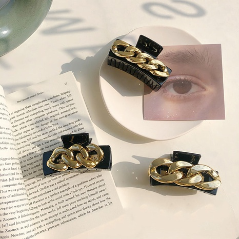 Black resin alloy chain hair catch clip  NHSM303617's discount tags