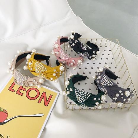 Perlengeknotetes Stirnband mit breiter Krempe NHSM303625's discount tags