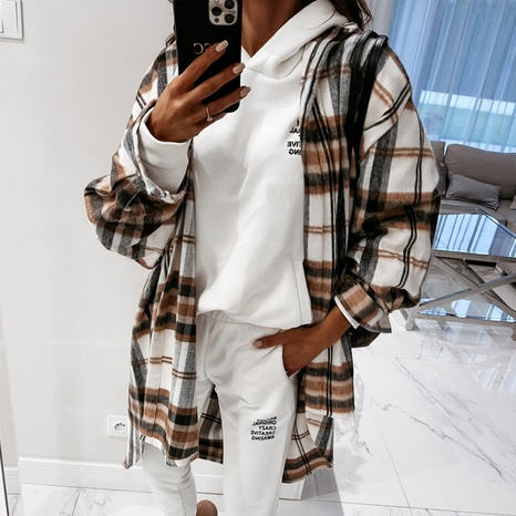 Autumn and winter women's long-sleeved plaid print lapel all-match shirt jacket NHWA304614's discount tags
