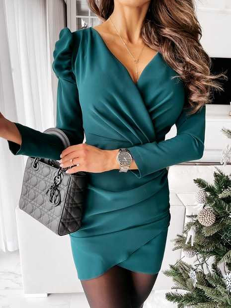 Spring Women's Fashion Professional Slim V-neck Sexy Solid Color Dress NHWA304608's discount tags