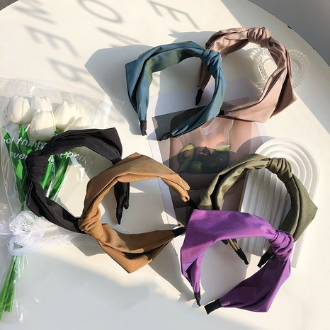 Retro knotted fashion solid color headband NHSM303628's discount tags