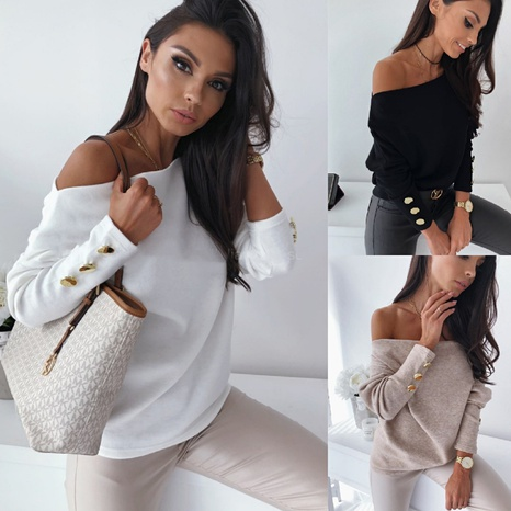 Spring fashion loose collar solid color off-shoulder long-sleeved sweater NHWA304611's discount tags