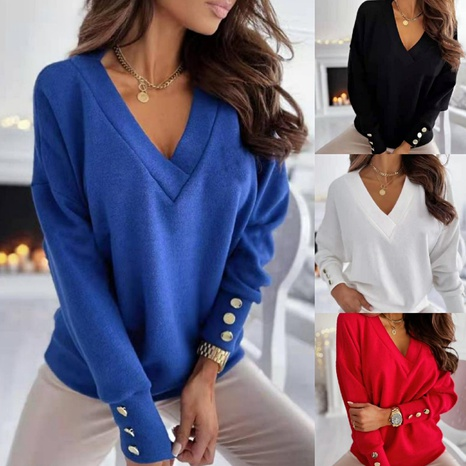 Spring women's V-neck solid color button decoration long-sleeved sweater NHWA304610's discount tags