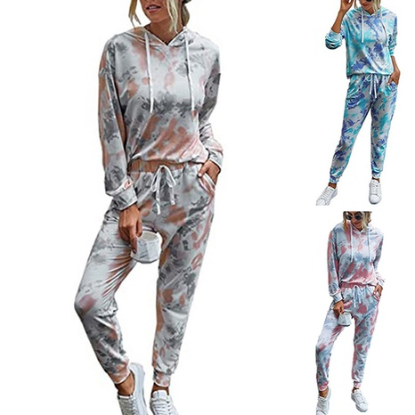 fashion printed tie-dye hooded casual lace-up long-sleeved set NHUO304112's discount tags