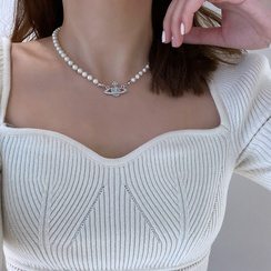 Fashion Saturn pearl clavicle chain hipster necklace NHQC304062
