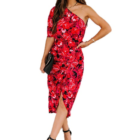 new fashion print irregular dress NHIS304098's discount tags