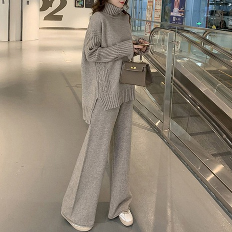 new loose simple wide leg pants two-piece knitted suit NHJG304067's discount tags