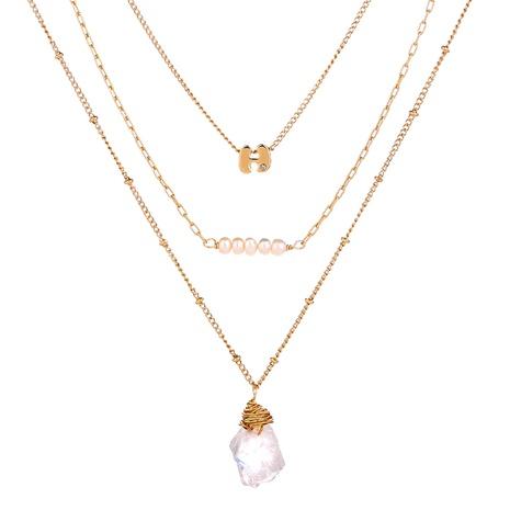 mehrschichtige Halskette aus perlentransparentem Naturstein NHAN304205's discount tags