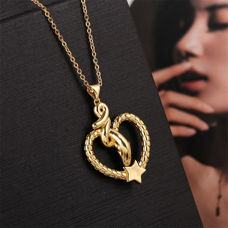cute exquisite copper snake heart-shaped necklace NHLA304332's discount tags