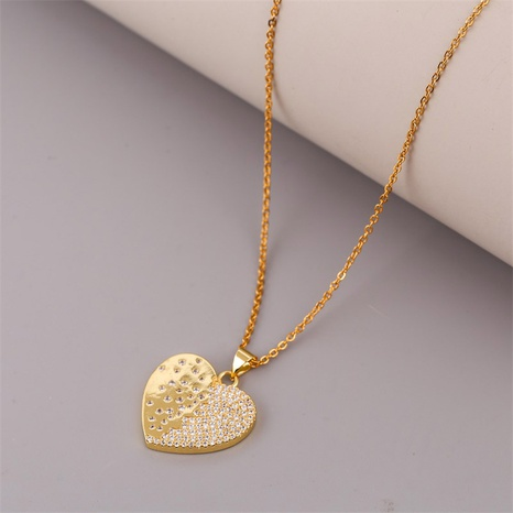 Creative simple copper inlaid zirconium heart necklace NHLA304333's discount tags