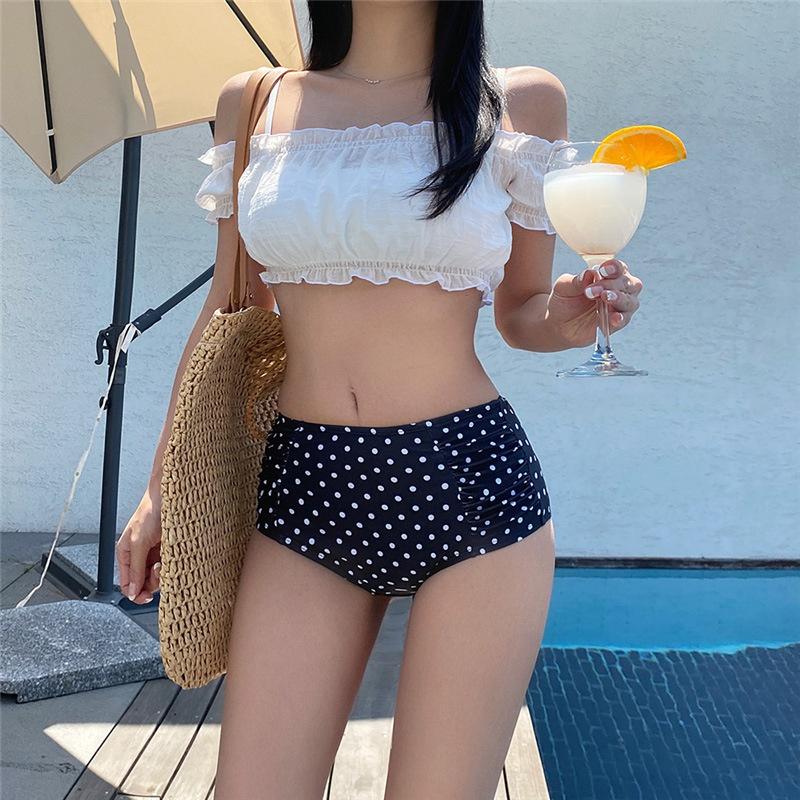 bubble sleeve split swimsuit  NHHL304379