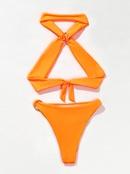 maillot de bain dos nu sexy de couleur unie NHZO304404