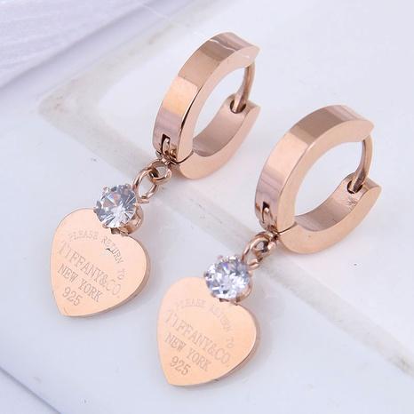 Pendientes de corazón de melocotón simple de acero de titanio de moda NHSC304821's discount tags