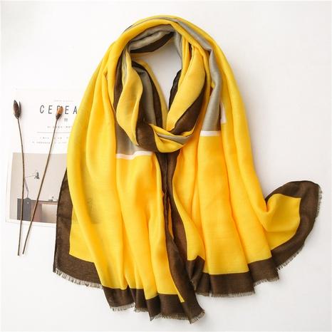 new korean bright yellow cotton linen silk scarf NHGD304546's discount tags