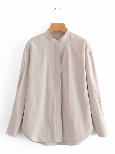 fashion long-sleeved stand-up collar loose shirt NHAM304566's discount tags