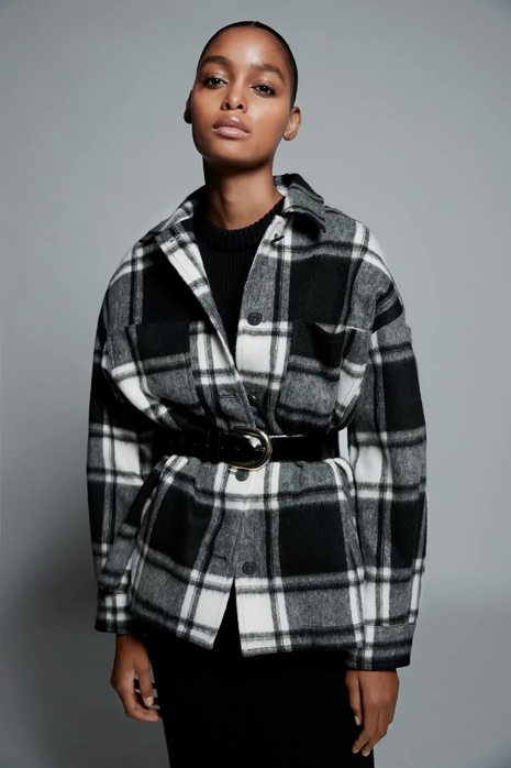retro plaid woolen jacket NHAM304570's discount tags