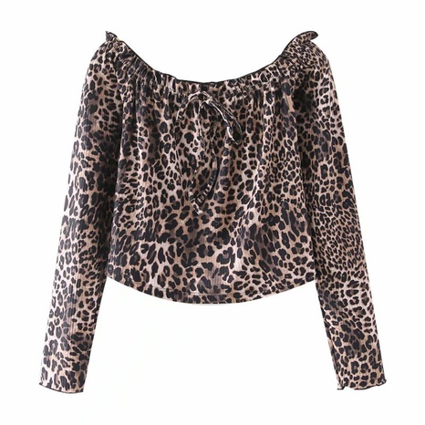 new all-match slim off-shoulder leopard shirt NHAM304573's discount tags