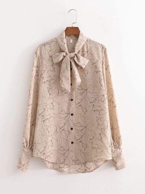 fashion long-sleeved bow shirt NHAM304593's discount tags