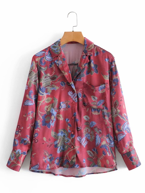 retro ethnic style suit lapel printed long-sleeved shirt NHAM304602's discount tags
