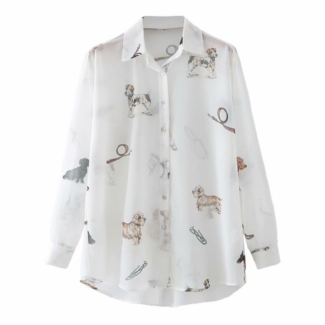 fashion puppy print loose fit long-sleeved shirt NHAM304596's discount tags