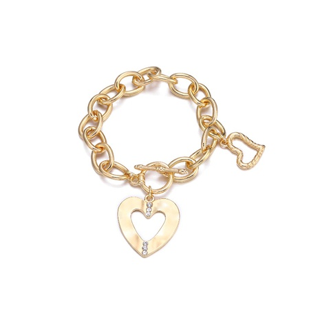 fashion simple Love Heart Pendant Chain Bracelet NHBD304628's discount tags
