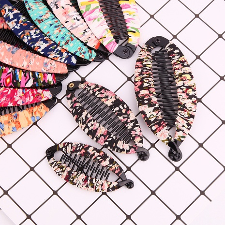 Pince à banane à cheveux floraux en tissu simple coréen NHBE304702's discount tags