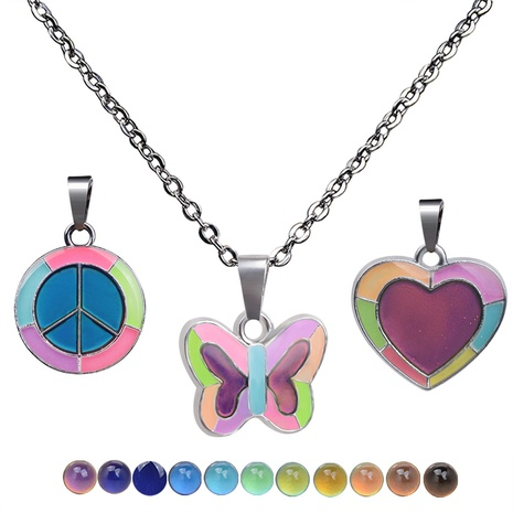 fluorescent luminous butterfly heart pendant color changing necklace NHBI304769's discount tags