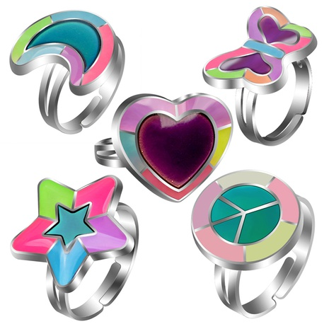simple peach heart love butterfly moon color changing ring  NHBI304774's discount tags