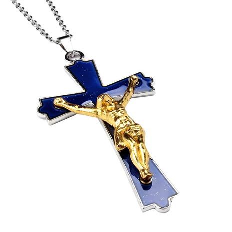Collar de acero inoxidable con colgante de cruz de Jesús que cambia de color NHBI304777's discount tags