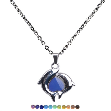 fashion dolphin heart color change pendant necklace  NHBI304784's discount tags