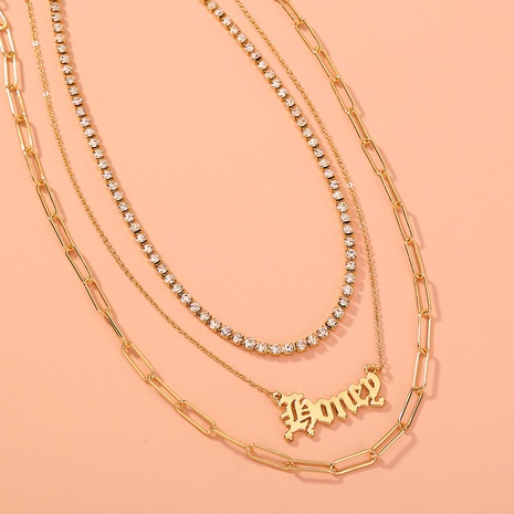 Gothic letter fashion multi-layer necklace NHAN304831's discount tags