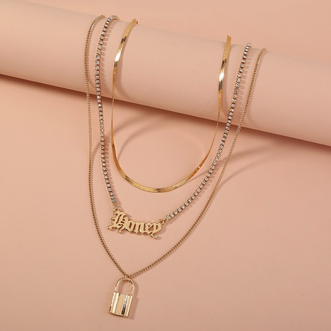 Gothic letter metal lock-shaped fashion rhinestone multilayer necklace NHAN304837's discount tags