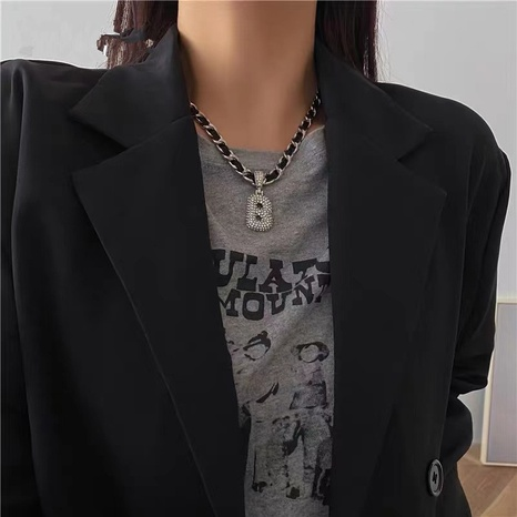 retro fashion diamond letter B necklace  NHYQ304896's discount tags