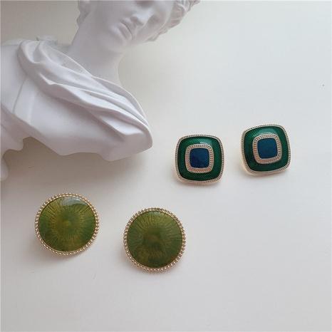 Retro grüne Knopf Ohrringe NHYQ304912's discount tags